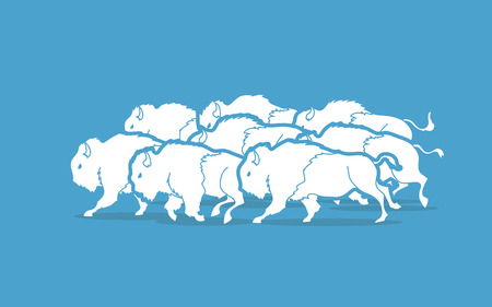 Group of buffalo running graphic vector Ilustração