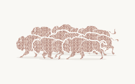 crowd tail: Group of buffalo running designed using brown mosaic pattern graphic vector