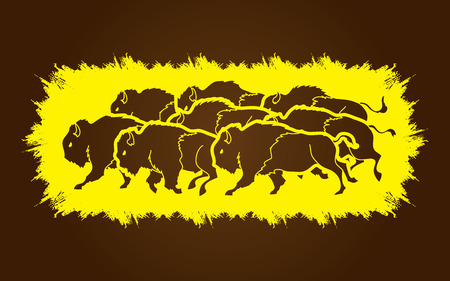 crowd tail: Group of buffalo running designed on grunge frame background graphic vector