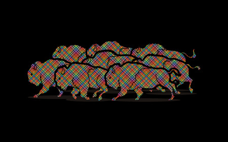Group of buffalo running designed using colorful pixels graphic vector