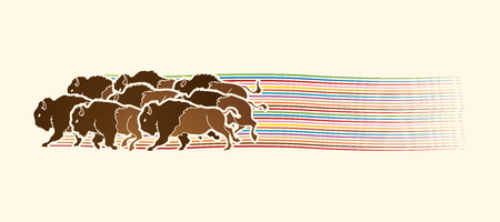 Group of buffalo running designed on line rainbows movement graphic vector