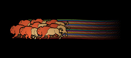 crowd tail: Group of buffalo running designed on line rainbows movement graphic vector