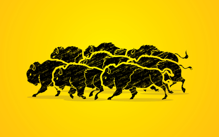 crowd tail: Group of buffalo running designed using grunge brush graphic vector