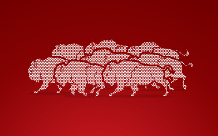 crowd tail: Group of buffalo running designed using geometric pattern graphic vector