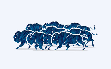 crowd tail: Group of buffalo running designed using blue grunge brush graphic vector