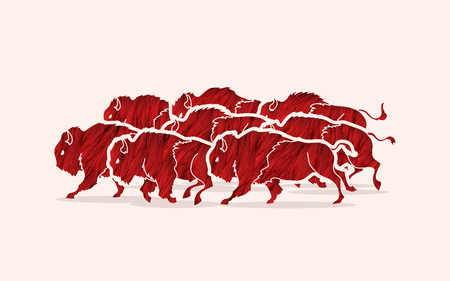Group of buffalo running designed using red grunge brush graphic vector Illustration