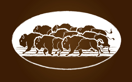 Group of buffalo graphic vector