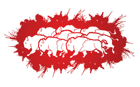 crowd tail: Group of buffalo running designed on splash blood background graphic vector