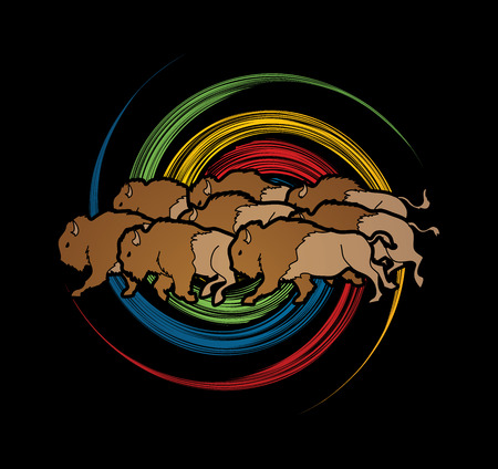 Group of buffalo running designed on spin wheel background graphic vector