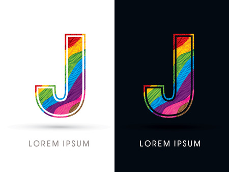 J Font , colorful wave, designed using colorful grunge brush graphic vector