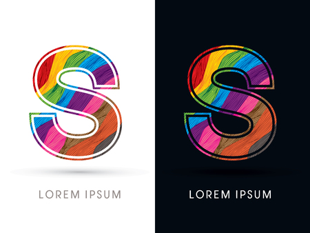 deluxe: S Font , colorful wave, designed using colorful grunge brush graphic vector Illustration
