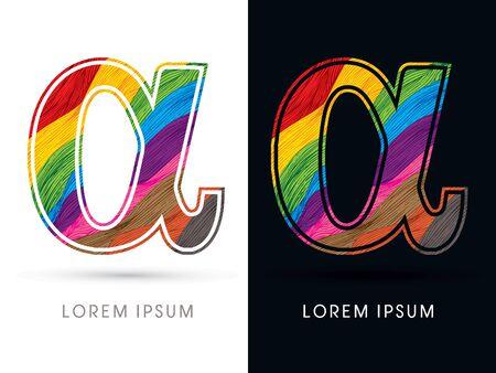 alpha: Alpha Font , colorful wave, designed using colorful grunge brush graphic vector