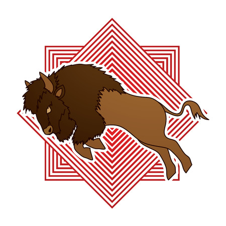 Buffalo Jumping designed on line square background graphic vector