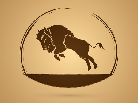 Buffalo Jumping designed using grunge brush graphic vector