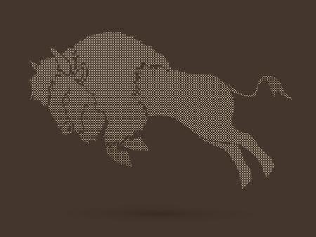 Buffalo Jumping designed using dots graphic vector Illustration