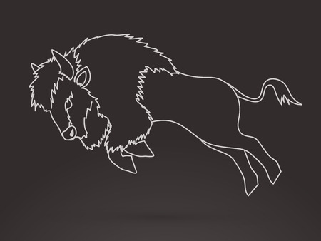 Buffalo Jumping outline graphic vector