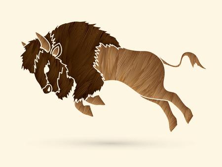 screen printing: Buffalo Jumping designed using  grunge brush graphic vector
