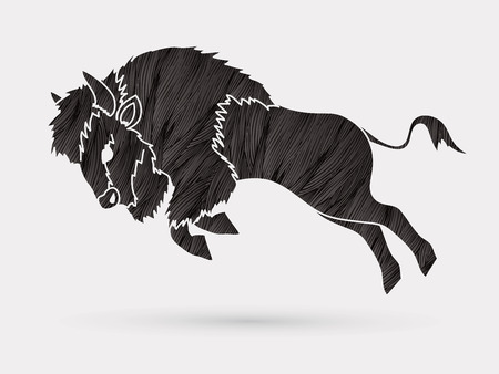 Buffalo Jumping designed using black grunge brush graphic vector Illustration