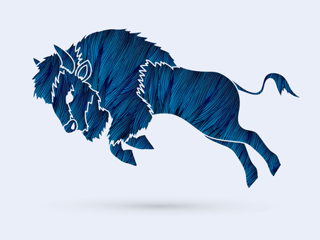 Buffalo Jumping designed using blue grunge brush graphic vector