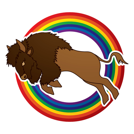 Buffalo Jumping designed on line rainbows background graphic vector