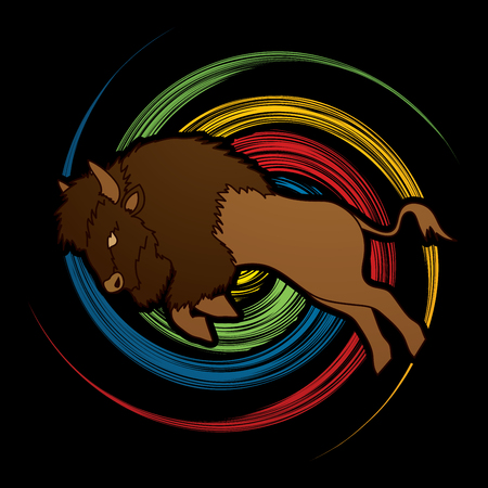 Buffalo Jumping designed on spin wheel  background graphic vector