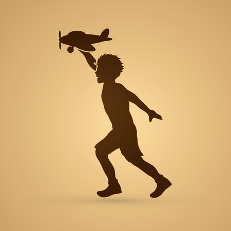 screen printing: Boy running with plane toy graphic vector.