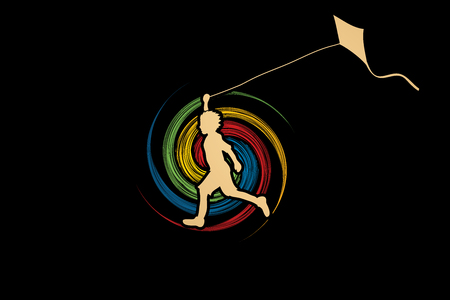 spin wheel: Little boy running with kite designed on spin wheel graphic vector.