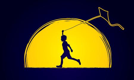 Little Boy in esecuzione con aquilone progettato sulla luna grafica vettoriale.