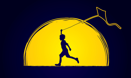Little boy running with kite designed on moonlight graphic vector. Illustration
