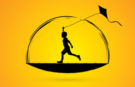 Little boy running with kite graphic vector.
