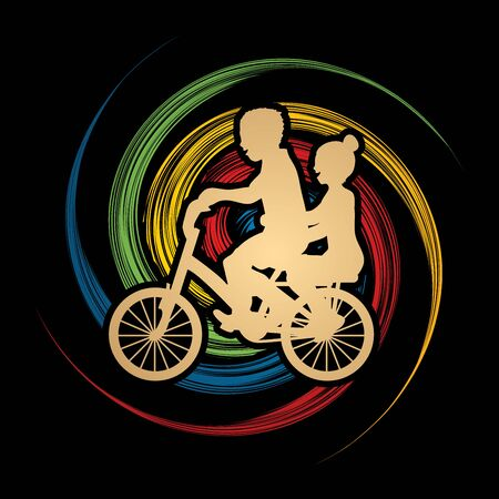 wheel spin: Little boy and girl are biking on spin wheel background graphic vector.