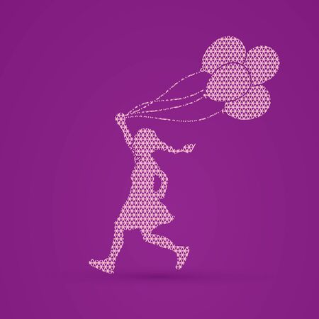 tossing: Little girl running with balloons designed using geometric pattern graphic vector.