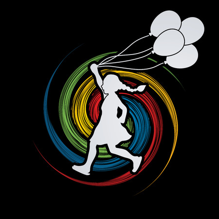 tossing: Little girl running with balloons designed on spin wheel background graphic vector. Illustration