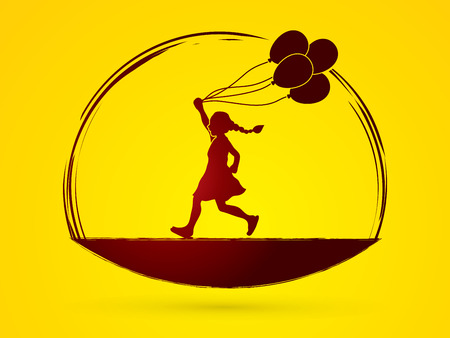 jogging park: Little girl running with balloons graphic vector.