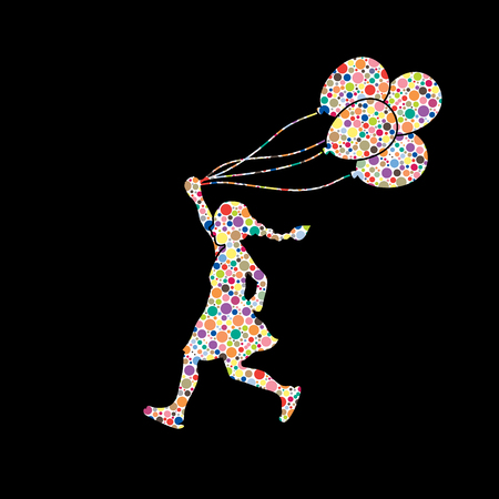 halftone pattern: Little girl running with balloons designed using colorful halftone pattern graphic vector. Illustration