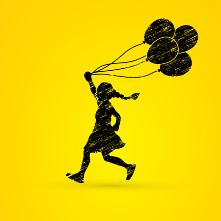 tossing: Little girl running with balloons designed using grunge brush graphic vector.