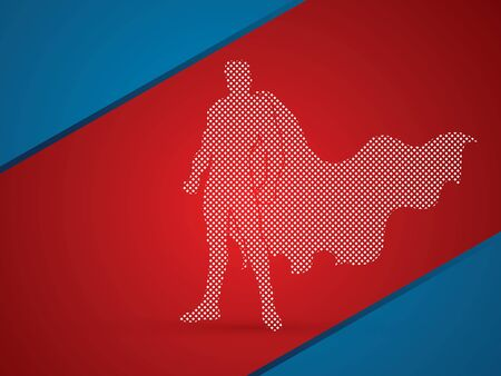 digital world: Superhero Man standing designed using dots pattern graphic vector.