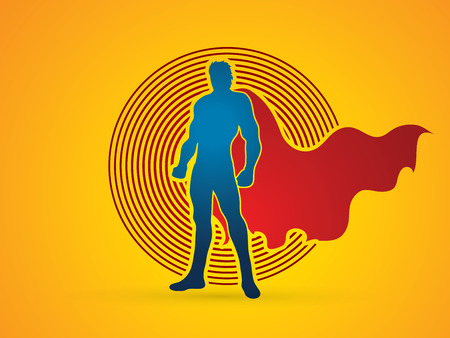 strong men: Superhero Man standing on circle light background graphic vector. Illustration