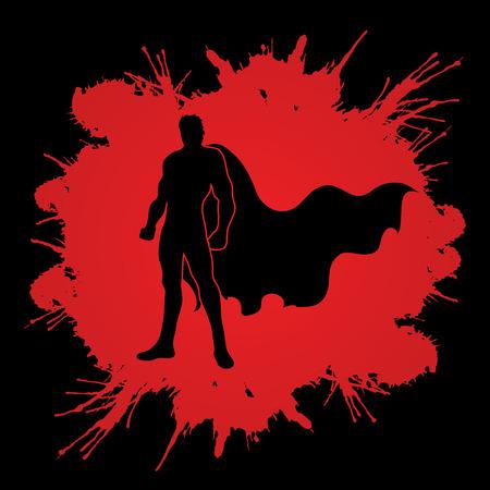 heroic: Superhero Man standing on splash blood background graphic vector.