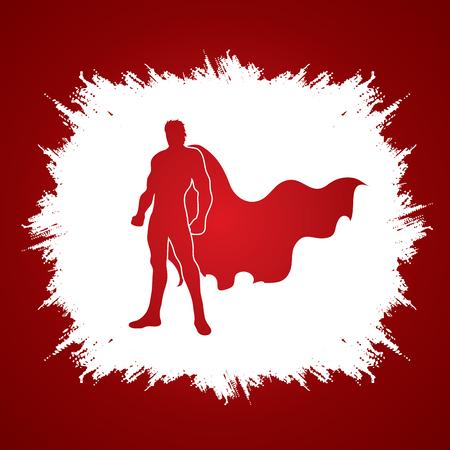 grunge frame: Superhero Man standing on grunge frame background graphic vector. Illustration