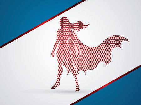 heroic: Superhero Woman standing using geometric pattern graphic vector.