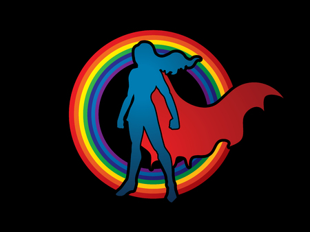woman standing: Superhero Woman standing on rainbows background  graphic vector.