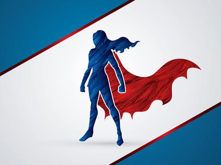 girl pose: Superhero Woman standing using grunge brush graphic vector.