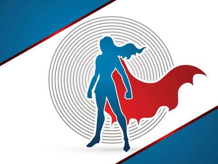 Superhero Woman standing on line cycle background  graphic vector.
