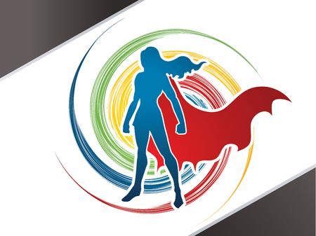 Superhero Woman standing on spin wheel background  graphic vector. 矢量图像