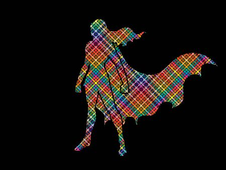 woman standing: Superhero Woman standing using colorful pixels graphic vector.