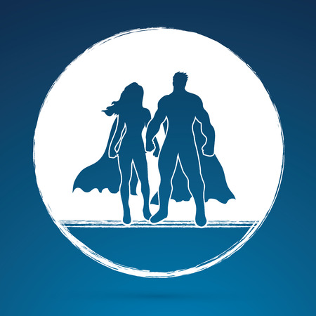 heroic: Superhero Man and Woman standing on grunge circle background graphic vector. Illustration