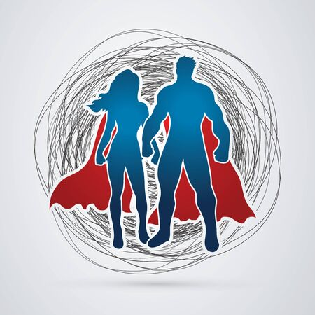 standing in line: Superhero Man and Woman standing on confuse line background graphic vector.