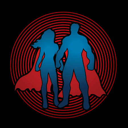 woman standing: Superhero Man and Woman standing on light background graphic vector.