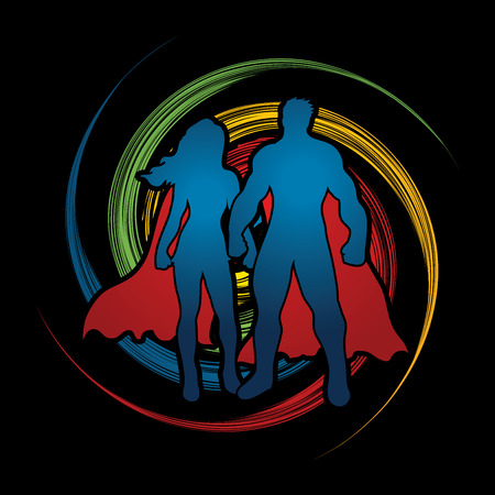 fairly: Superhero Man and Woman standing on spin wheel background graphic vector.